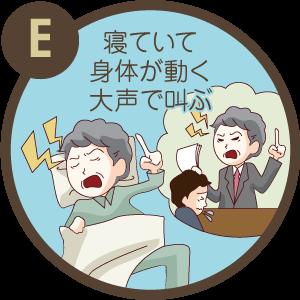 症状E / 寝ていて体が動く、大声で叫ぶ